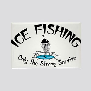 Ice Fishing Rectangle Magnet