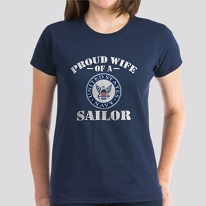Proud Wife Of A US Navy Sailo Women's Dark T-Shirt