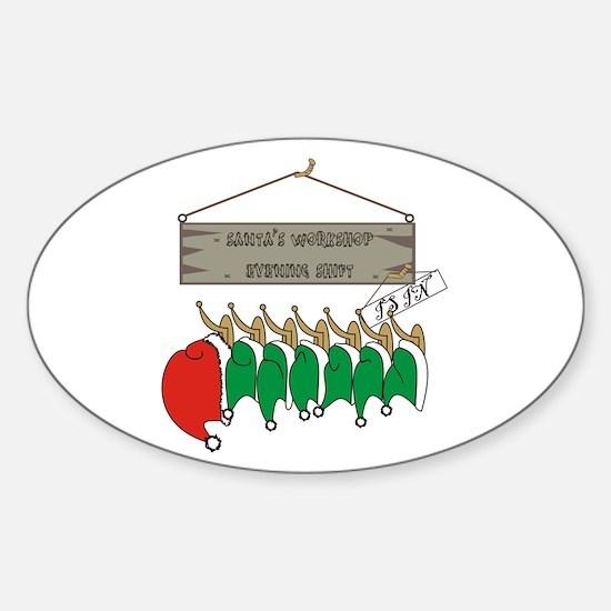 Santa's Workshop Oval Decal