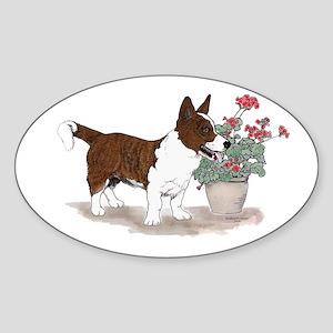 Red Brindle Cardigan Corgi Oval Sticker