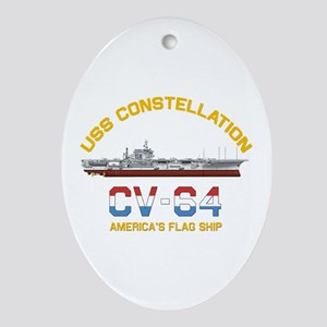 America's Flag Ship Oval Ornament