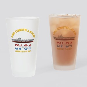 America's Flag Ship Drinking Glass