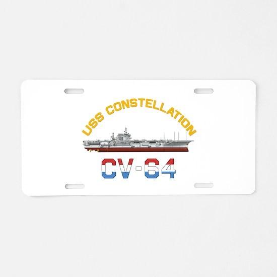 CV-64 RED, WHITE & BLUE Aluminum License Plate