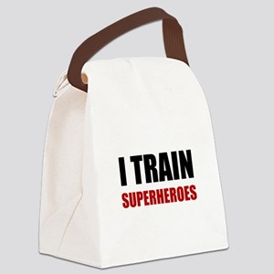 I Train Superheroes Canvas Lunch Bag