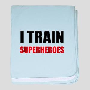 I Train Superheroes baby blanket