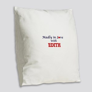 Madly in Love with Edith Burlap Throw Pillow