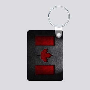 Canadian Flag Stone Texture Keychains