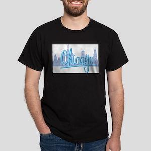 Chicago Skline and Light Blue Script Chicago T-Shi