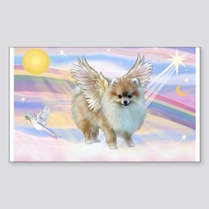 Clouds & Pomeranian Angel Rectangle Sticker