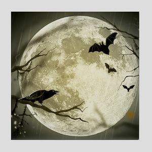 Halloween Moon Spooky Crows Tile Coaster