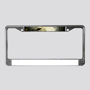 Halloween Moon Spooky Crows License Plate Frame