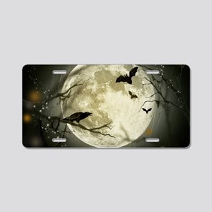 Halloween Moon Spooky Crows Aluminum License Plate