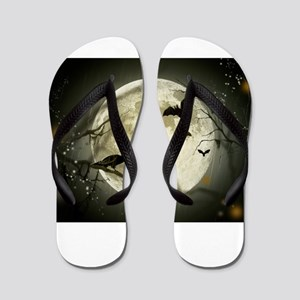 Halloween Moon Spooky Crows Flip Flops