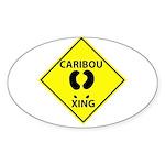 Caribou Crossing Oval Sticker