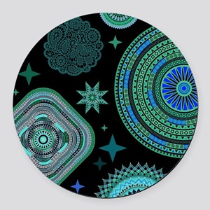 MANDALAS AND STARS Round Car Magnet