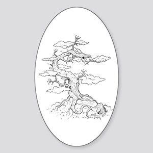 Ink Dragon Tree Oval Sticker