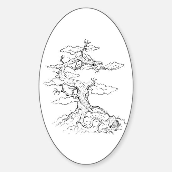 Ink Dragon Tree Oval Decal