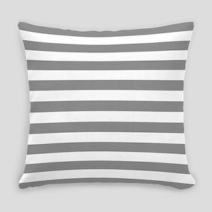 Grey and White Horizontal Stripes Everyday Pillow