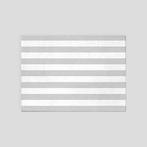 White and Grey Horizontal Stripes 5'x7'Area Rug