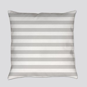 White and Grey Horizontal Stripes Everyday Pillow