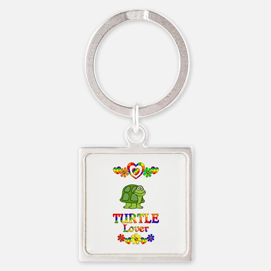 Turtle Lover Square Keychain