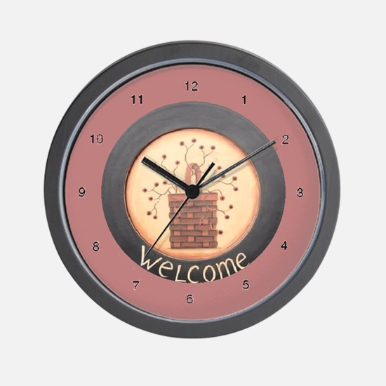 Cookie Folk Primitive Art  Wall Clock