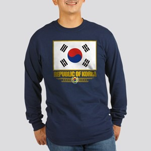 """Republic of Korea Flag"" Long Sleeve Dark T-Shirt"