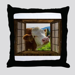 Cow Field Animal Throw Pillow