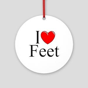 """I Love (Heart) Feet"" Ornament (Round)"