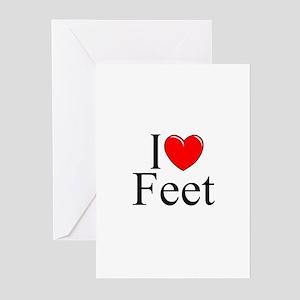 """I Love (Heart) Feet"" Greeting Cards (Pk of 10)"