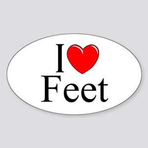 """I Love (Heart) Feet"" Oval Sticker"