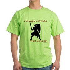 Hit with Sticks Green T-Shirt
