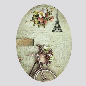 Bicyclette a Paris Oval Ornament