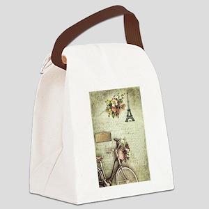Bicyclette a Paris Canvas Lunch Bag