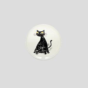 Distressed Black Fat Cat Mini Button