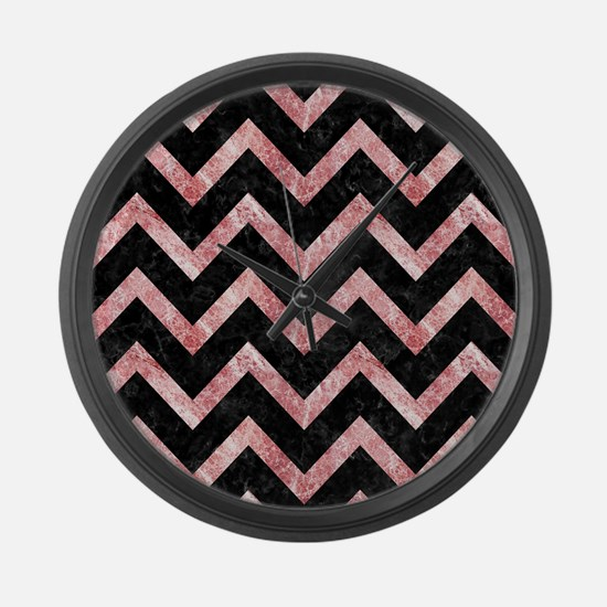 CHEVRON9 BLACK MARBLE & RED & WHI Large Wall Clock