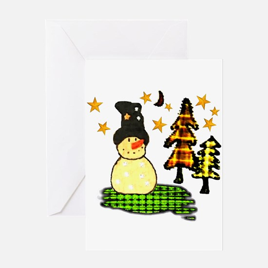 Snowman Stars Folk Art Greeting Card