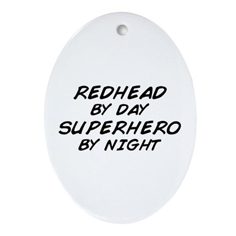 Redhead Superhero Oval Ornament