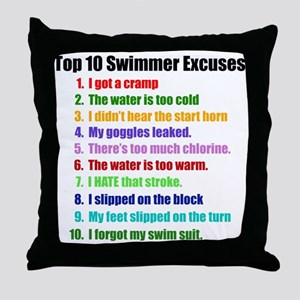 Swim Excuses Throw Pillow