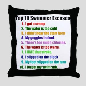 Swim Excuses Throw Pillow