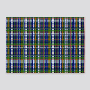 Orange and Blue and Green Modern Plaid Pattern 5'x