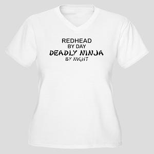 Redhead Deadly Ninja Women's Plus Size V-Neck T-Sh