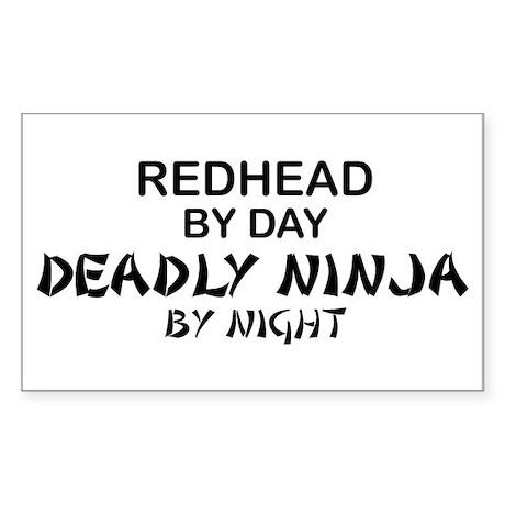 Redhead Deadly Ninja Rectangle Sticker