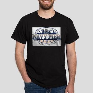 Navy Pier Oval Stylized Skyline design T-Shirt