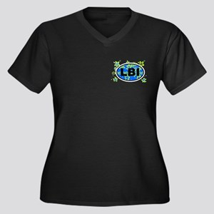 LBI OVAL - NEW Women's Plus Size V-Neck Dark T-Shi