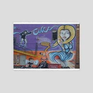 Tattooed Mermaid Street Art 5'x7'Area Rug