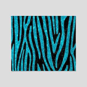 SKIN4 BLACK MARBLE & TURQUOISE MARBL Throw Blanket