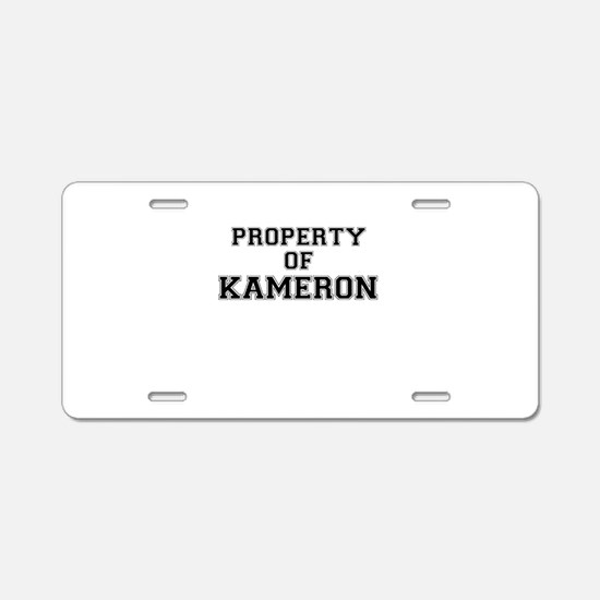 Property of KAMERON Aluminum License Plate