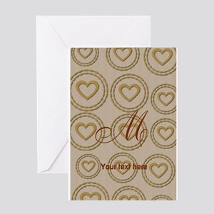 Cute Gold Heart Pattern Linen Greeting Cards