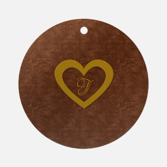 Cute Gold Monogrammed Heart Copper Round Ornament